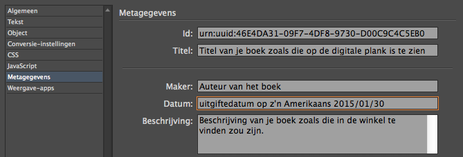Metadata in een ePub